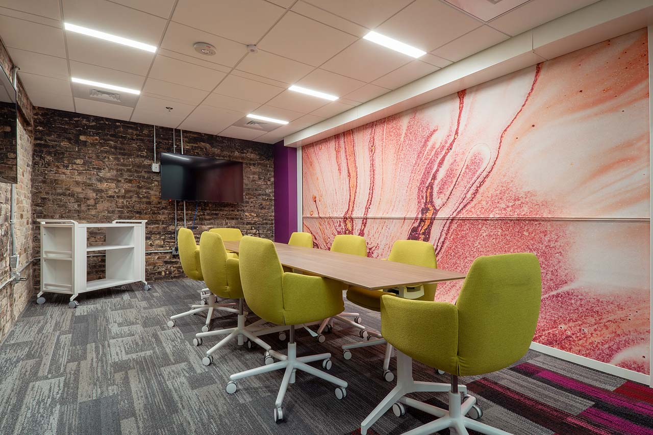 A conference room for eight people